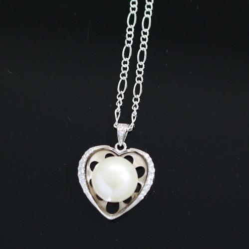 colar de prata 925 + pingente de coração + pérola + cristais