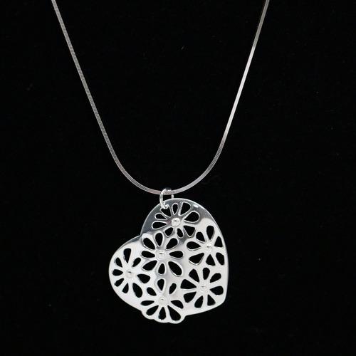 colar de prata feminino corrente + pingente coração e flores