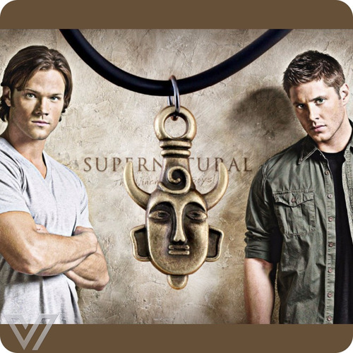 colar dean winchester supernatural amuleto dupla face
