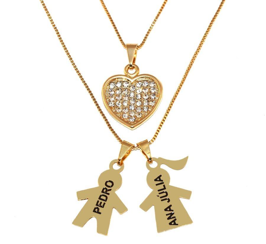353ccdfa0e277 colar duplo personalizado nomes 2 filhos folheado ouro 18k. Carregando zoom.