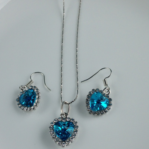 colar e brinco coração topazio azul feminino prata 925