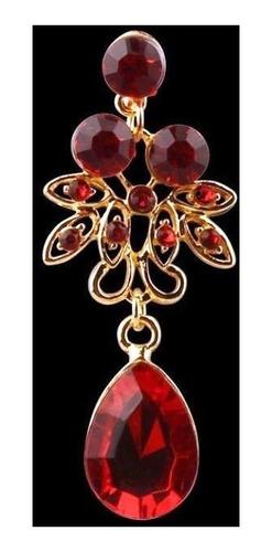 colar e brinco vermelho joia strass noiva festa casamento