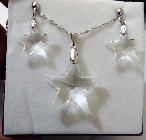 colar e brincos estrela swarovski cor cristal transparente