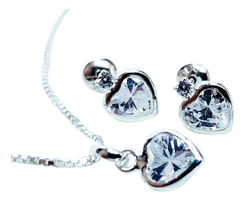 colar e brincos feminino coração  prata maciça 925