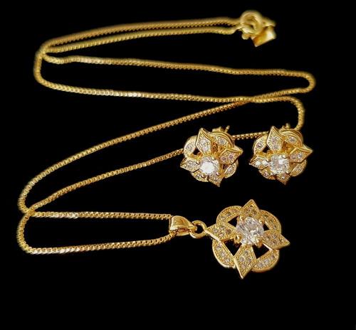 colar e brincos feminino flores cristal banhado ouro 18k
