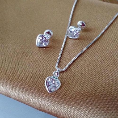 colar e brincos feminino ponto de luz coração prata pura 925