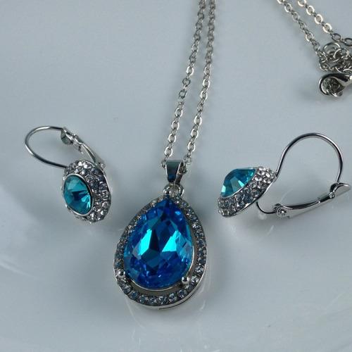 colar e brincos topazio azul de prata 925 promoção