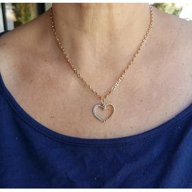 Colar E Pendente Coração Em Ouro  Com Diamantes