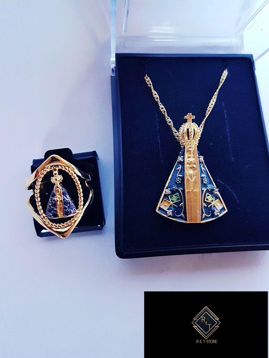 72448a8a1c30e colar e pingente nossa senhora aparecida folheado ouro 18k. Carregando zoom.