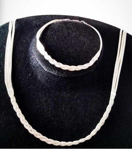 colar e pulseira trançada folheada a prata