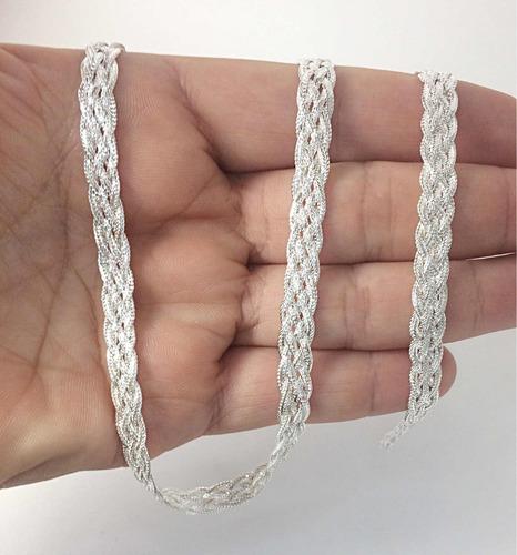 colar e pulseira trançada folheadas a prata com 05 fios
