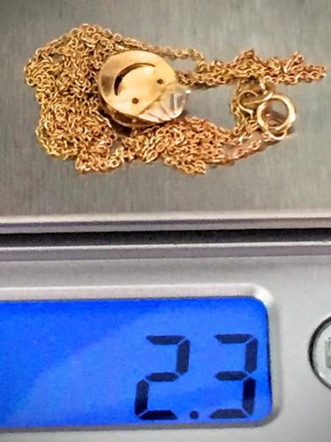 colar em ouro 18k-2.3gr.63cm. com pingente criança