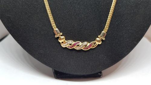 colar em ouro 18k com brilhantes e rubis