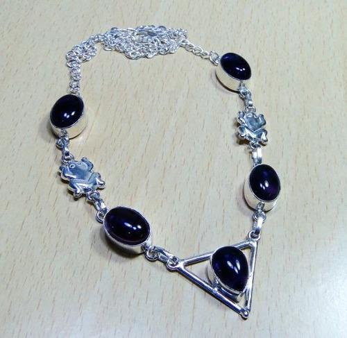 colar em prata 19,7gr com 5 pedras de quartzo ametista j518