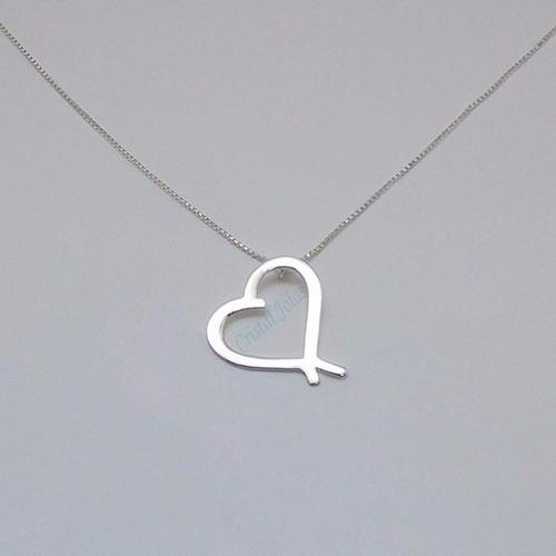 colar em prata com coração - ref. cb02