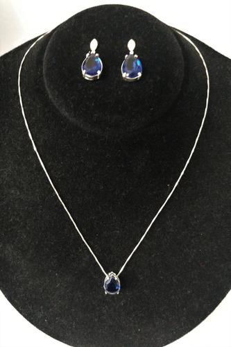 colar em prata maciça 925 e pedra zircônia gota - ref.049