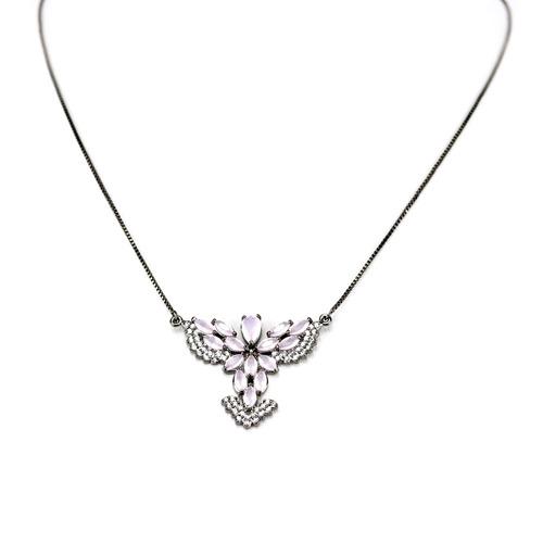 colar em ródio negro espírito s e quartzo rosa em zircônia