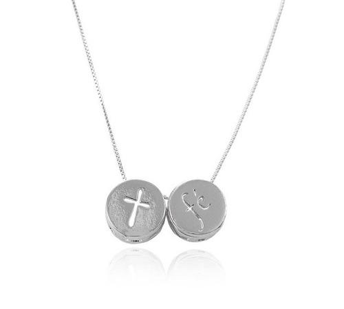 colar escapulário folheado ródio cruz e fé