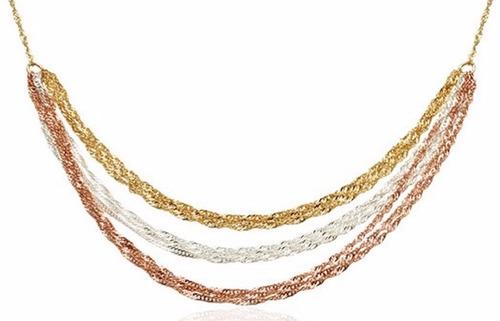 colar estilo vivara cingapura 3 camadas ouro banhado