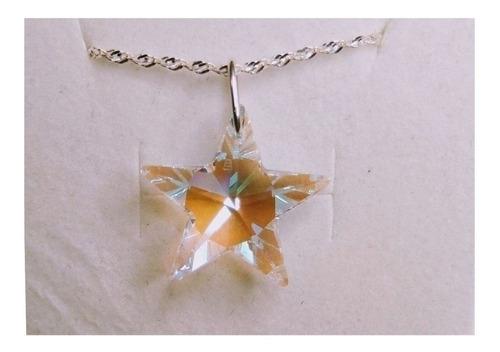 colar estrela cristal swarovski blue boreal em prata 925