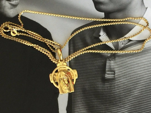 colar famosa grife ouro 18k c/pingente 18.1 gr.unisex.