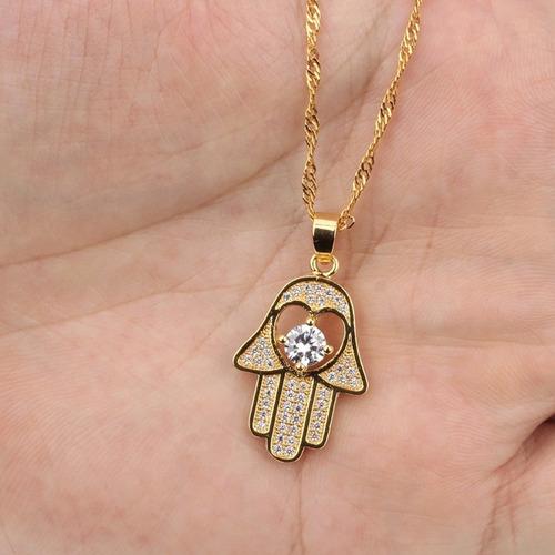 colar feminino banhado ouro 18k cordão + pingente zircônias