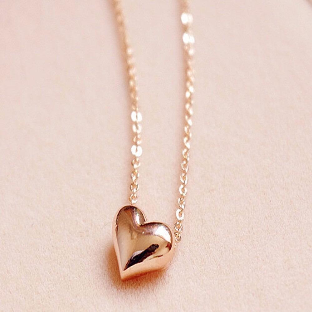 colar feminino barato dourado pingente coração folheado ouro. Carregando  zoom. e166904cf5