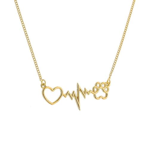 colar feminino batimentos cardíacos pet  banhado ouro18k