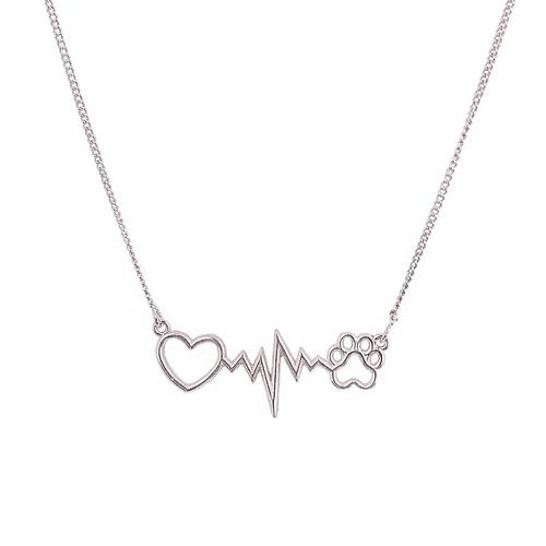 colar feminino batimentos cardíacos pet banhado ródio prata