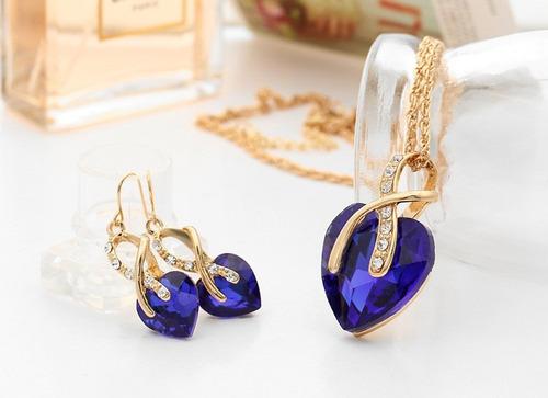 colar feminino brinco dourado pingente coração frete grátis
