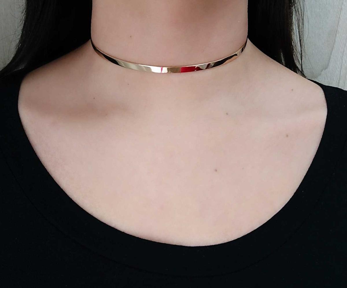 d3ae429e70c67 colar feminino choker dourada aro semi jóia banhado ouro. Carregando zoom.