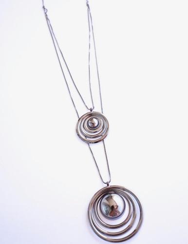 colar feminino círculos negros banhado ródio dia a dia
