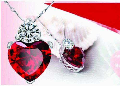 colar feminino coração - zircônia
