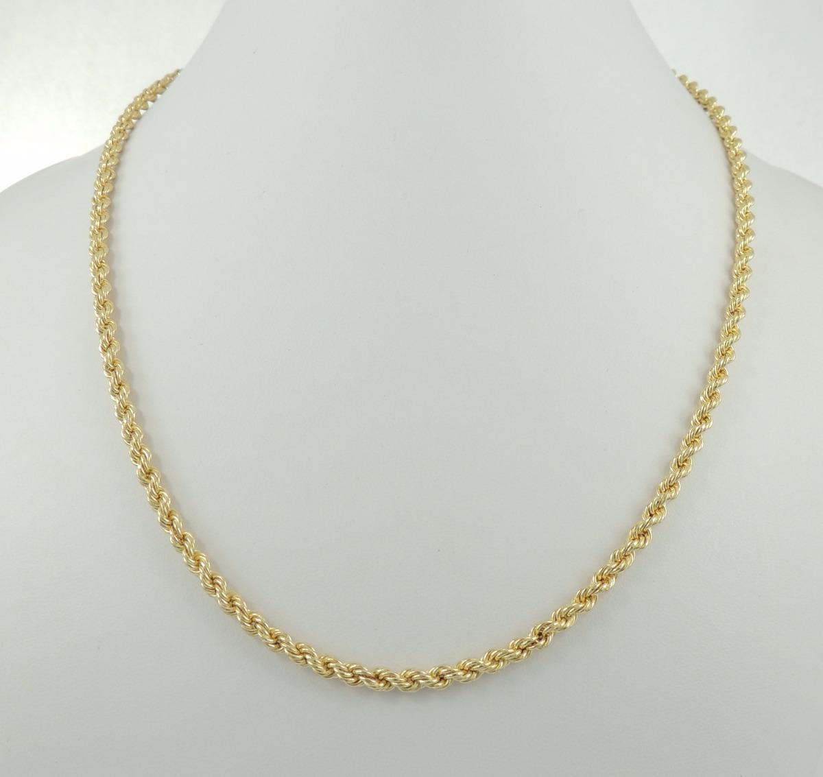 Colar Feminino Corda 45 Cm Ouro 18k 750 Cordão Baiano - R  2.290,00 ... bca4658662