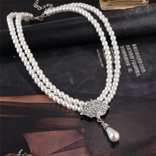 colar feminino cordão brincos perolas e brilhantes