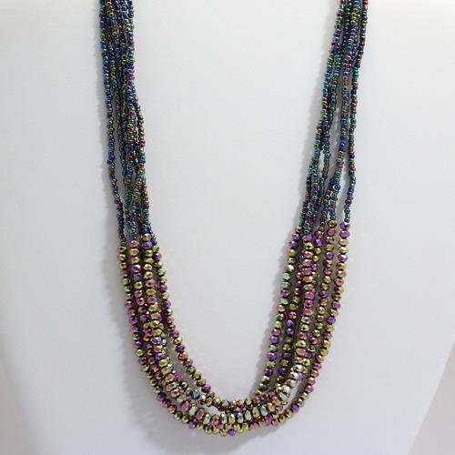 colar feminino cristais facetados + miçangas furta-cor