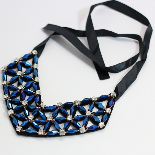 colar feminino de amarrar festa cristais bijuteria fina luxo