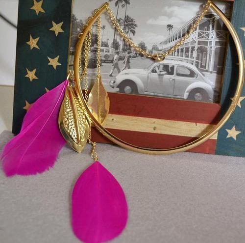 colar feminino de pena borla banhado a ouro