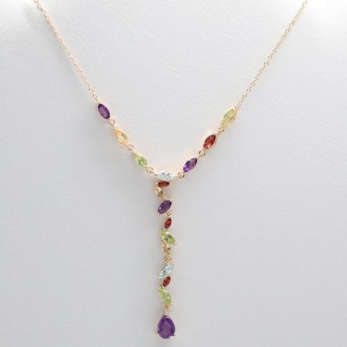 colar feminino de prata + banho ouro 18k + pedras preciosas