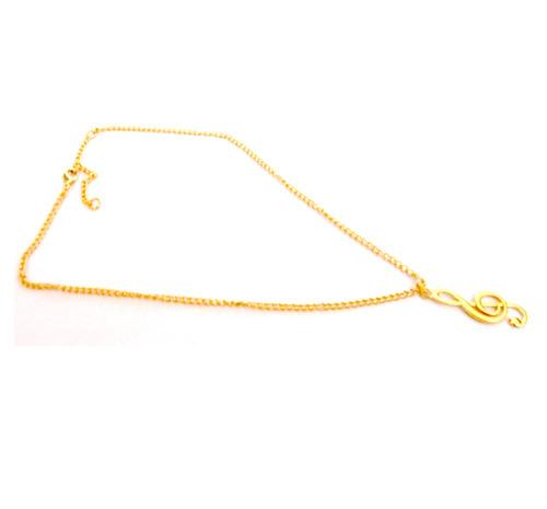 colar feminino dourado nota musical