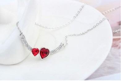 colar feminino em cristal austríaco pingente coração