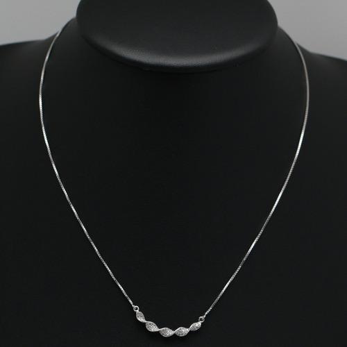 colar feminino em prata 925 ondas de cristal zircônia