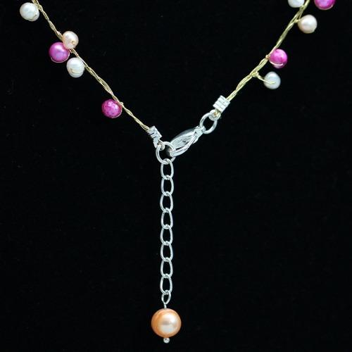 colar feminino fios de seda japonesa + pérolas naturais rosa