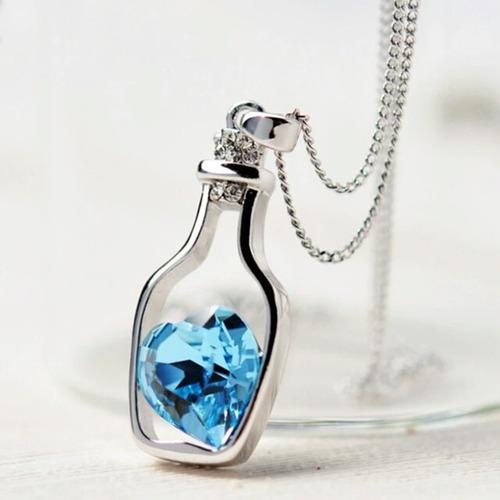 colar feminino garrafa coração cristal - kit 3 unidades
