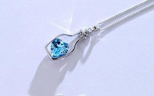 colar feminino garrafa cristal azul, promoção pronta entrega