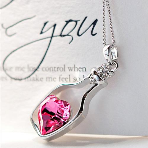 colar feminino lindo coração cristal garrafinha frete grátis