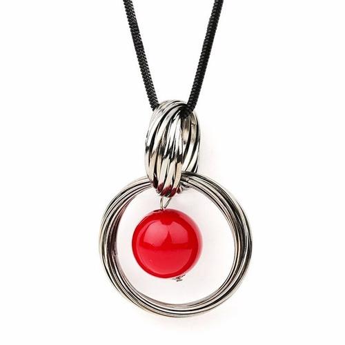 colar feminino longo pérola vermelha lançamento promoção top