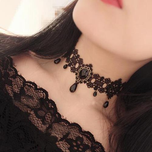 colar feminino mulher choker tatto tatuagem preto black