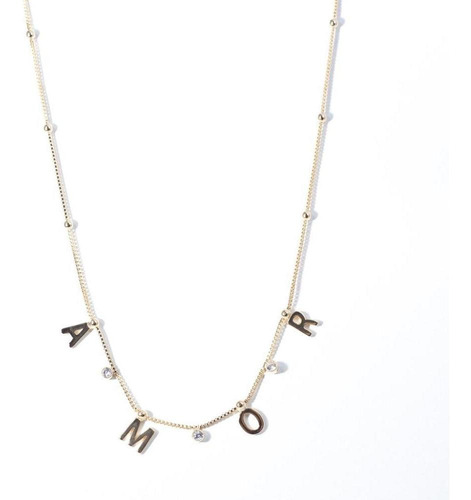 colar feminino pingente amor folheado ouro 18k gargantilha