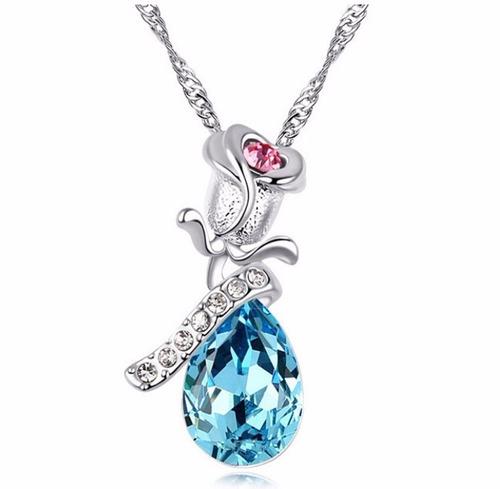 colar feminino pingente cristal azul folheado á ouro branco